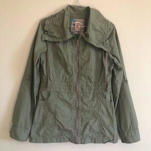 Decree military green collared cargo jacket Sz S